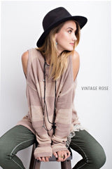 Buy Striped Sweater Top Cold Shoulders Vintage Rose online at Southern Fashion Boutique Bliss