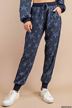 Soft Star Jaquard Fabric Jogger Pants Blue