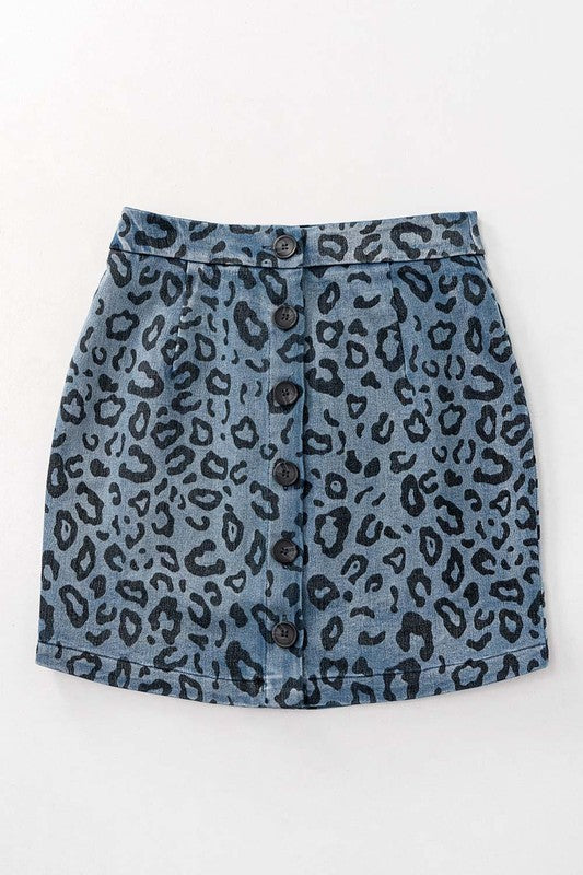 Buy Leopard Print Button Front Skirt Denim online at Southern Fashion Boutique Bliss