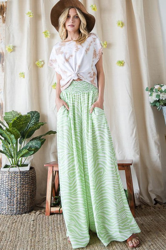 Zebra Print Wide Leg Maxi Pants Lime