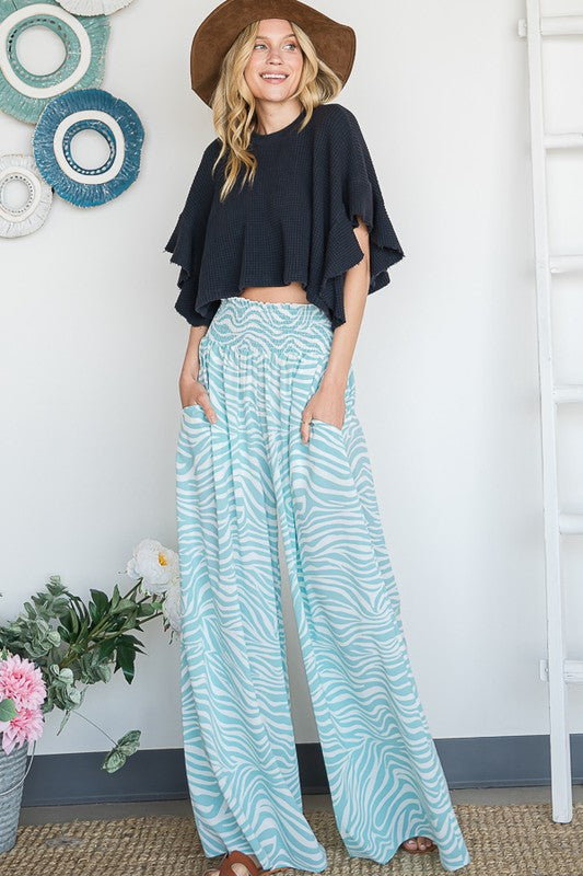 Buy Zebra Print Wide Leg Maxi Pants Mint online at Southern Fashion Boutique Bliss