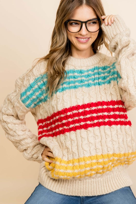 Cable Pattern Oversize Sweater Multi