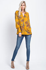 Buy Floral Woven Infinity Hi-Low Top Mustard online at Southern Fashion Boutique Bliss