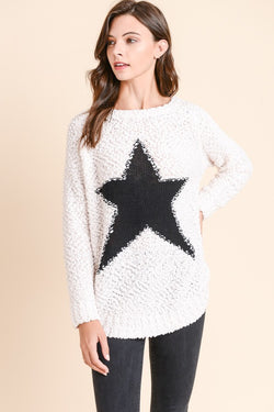 Buy Popcorn Star Pattern Sweater White online at Southern Fashion Boutique Bliss
