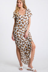 Buy Leopard V-neck Open Side Maxi Dress Ivory online at Southern Fashion Boutique Bliss