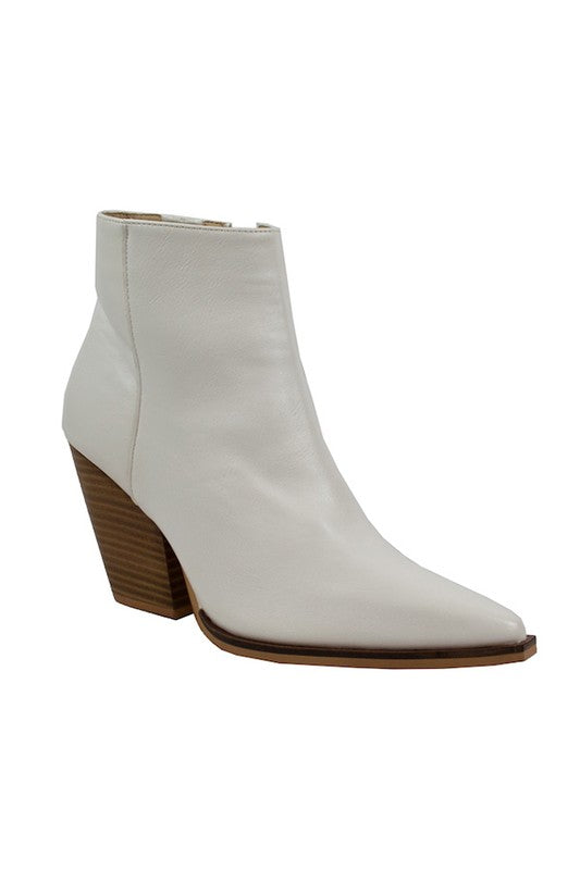 Pointy Toe Casual Booties White
