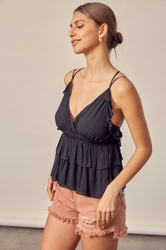 Strappy Back Detail Peplum Top Black