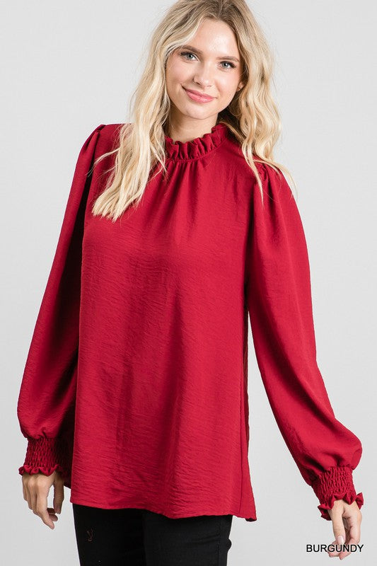 Solid Frill Mock Neck Top Burgundy