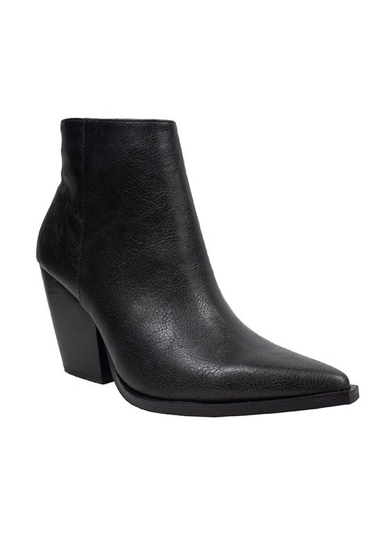 Pointy Toe Casual Booties Black