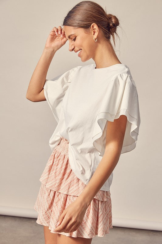 Buy Wide Ruffle Sleeve Top White online at Southern Fashion Boutique Bliss