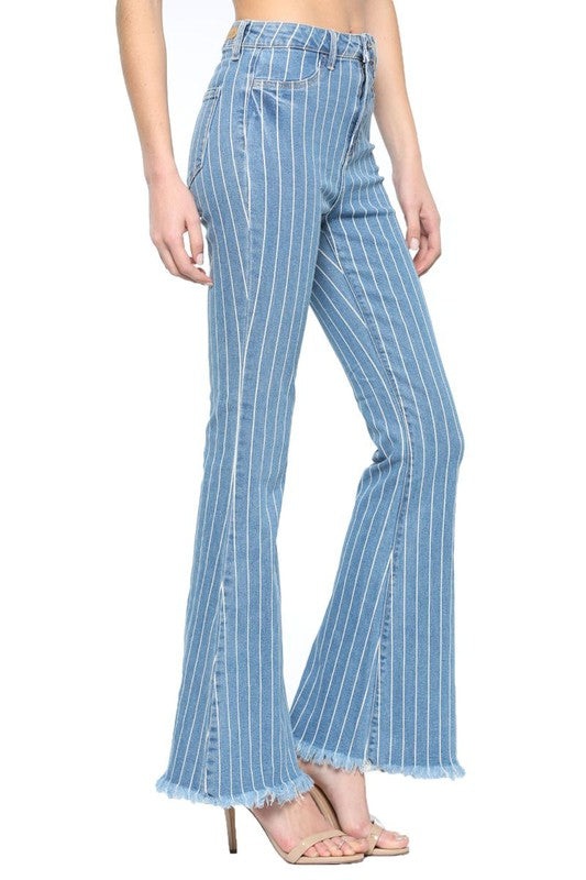 High Rise Stripe Frayed Hem Flare Jean Light