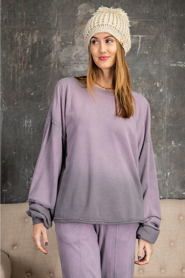 Ombre Terry Deep Dye Top Ash