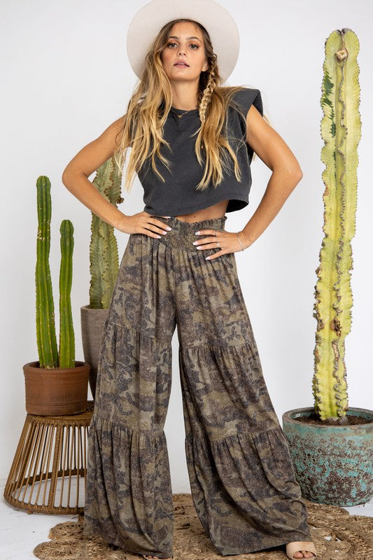 Tiered Camo Print Pants Olive