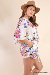Buy Plus Floral Print V-Neck Romper Pink Royal online at Southern Fashion Boutique Bliss