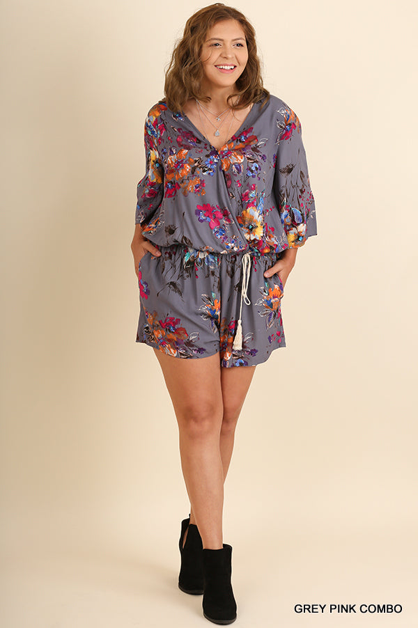 Buy Plus Floral Print V-Neck Romper Grey Pink online at Southern Fashion Boutique Bliss