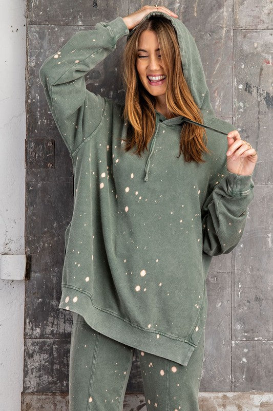 Splattered Bleached Hoodie Top Green