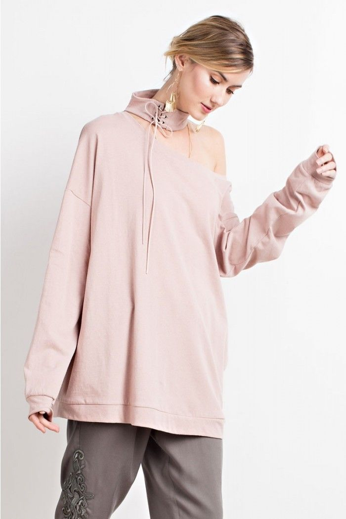 Buy Laced Up Mock Neck Cutout Top Vintage Rose online at Southern Fashion Boutique Bliss