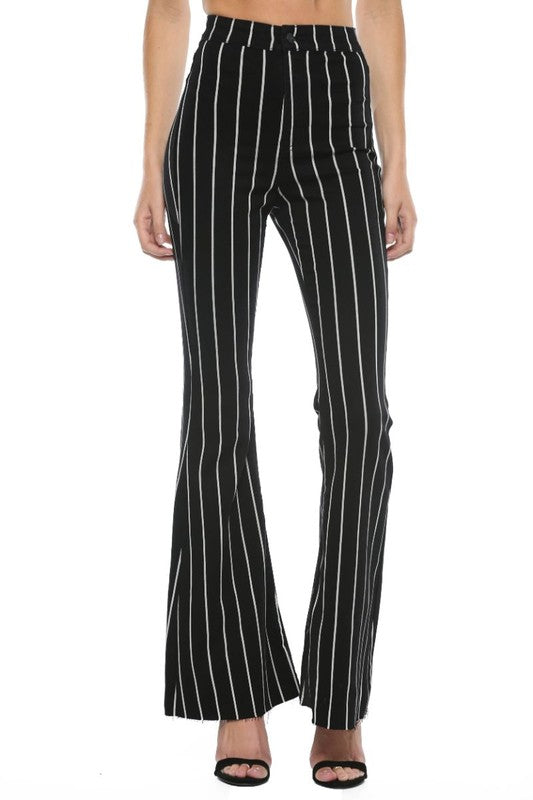 Buy High Rise Stripe Super Flare Jean Black/White online at Southern Fashion Boutique Bliss