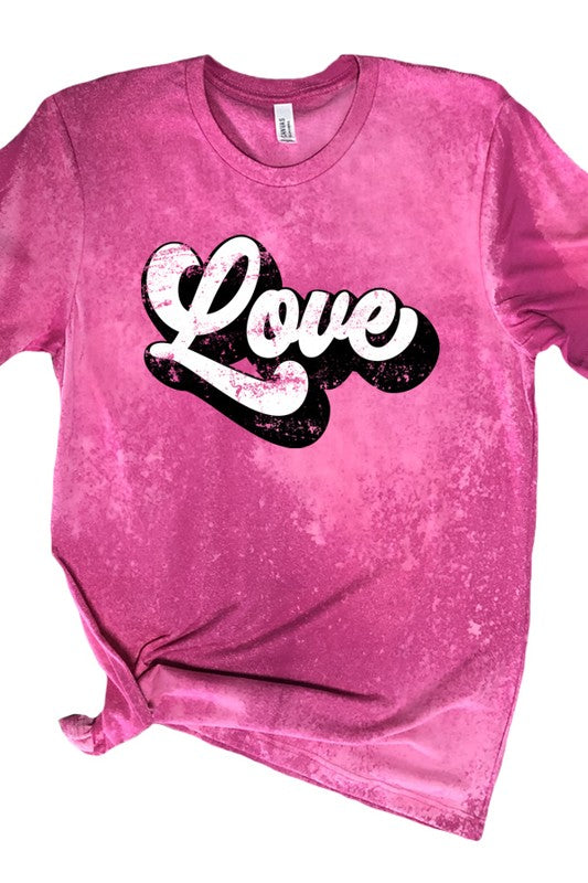 Buy Love Groovy Style Bleached Tee Berry online at Southern Fashion Boutique Bliss