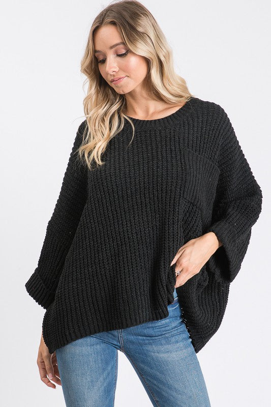 Wide Sleeve Solid Sweater Black