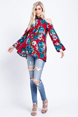 Buy Brushed Floral Printed Cold Shoulder Top Red online at Southern Fashion Boutique Bliss