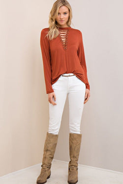 Buy Long Sleeve Lace Up Top Cinnamon online at Southern Fashion Boutique Bliss