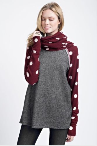 Buy Polka Dots Cowl Neck Long Sleeve Charcoal online at Southern Fashion Boutique Bliss