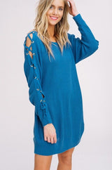 Buy Knit Lace Up Split Sleeves Sweater Blue online at Southern Fashion Boutique Bliss
