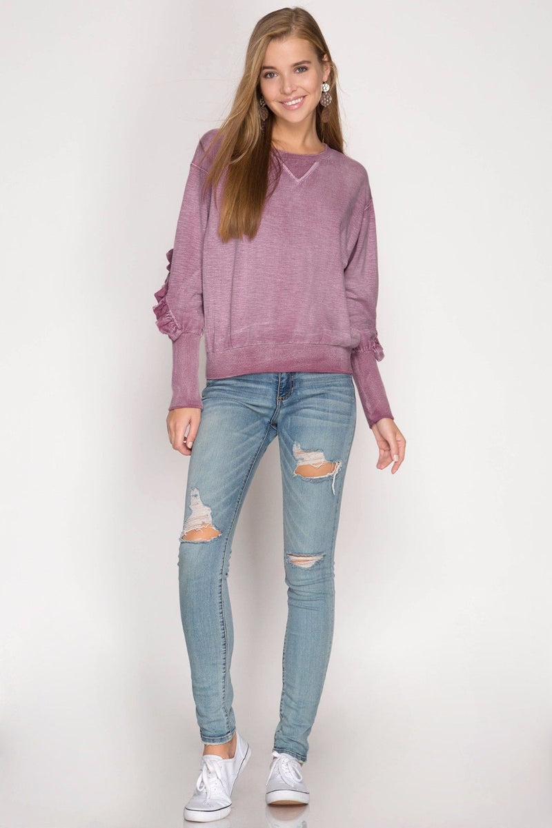 Buy Mineral Wash Top Ruffle Sleeves Dusty Mauve online at Southern Fashion Boutique Bliss
