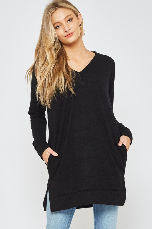 Buy Sweater Brushed Tunic Top Black online at Southern Fashion Boutique Bliss