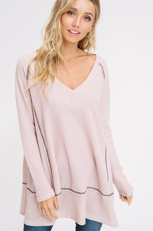Buy Waffle Textured V-Neck Knit Tunic Top Blush online at Southern Fashion Boutique Bliss