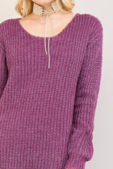 Buy Solid Sweater Top Strappy Back Detail Grape online at Southern Fashion Boutique Bliss