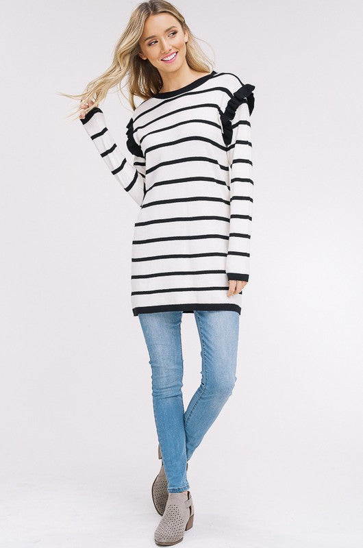 Buy Ruffle Striped Tunic Top Oatmeal online at Southern Fashion Boutique Bliss
