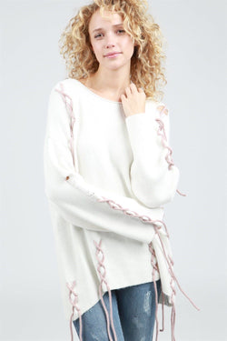 Buy Long Sleeve Pullover Lace Up Details Ivory online at Southern Fashion Boutique Bliss