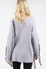 Buy Long Sleeve Pullover Lace Up Details Grey online at Southern Fashion Boutique Bliss