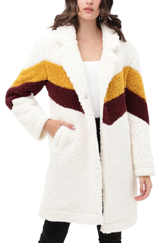 Teddy Bear Faux Fur Coat Ivory