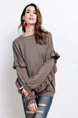 Buy Soft Rayon Ruffled Sleeve Top Faded Olive online at Southern Fashion Boutique Bliss