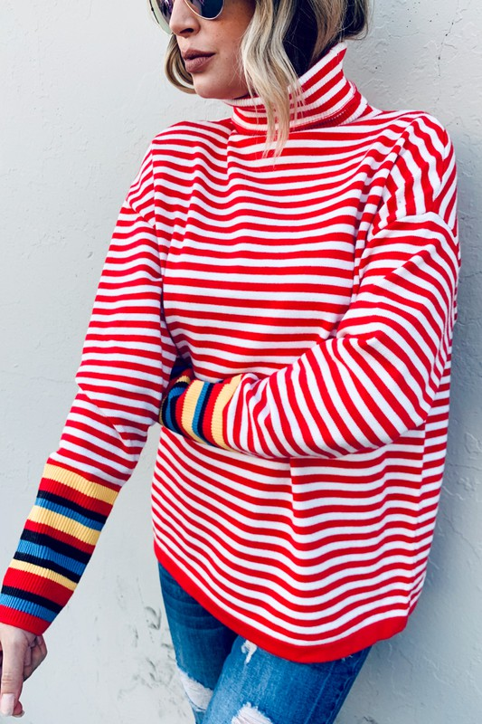 Stripe Turtle Neck Multi Color Sleeve Sweater Red