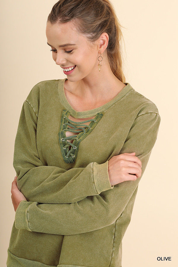 Buy Garment Dyed Crew Neck Sweatshirt Top Olive online at Southern Fashion Boutique Bliss