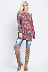 Buy Floral Printed Knit Tunic Top Burgundy online at Southern Fashion Boutique Bliss