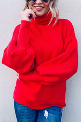 Buy Turtle Neck Balloon Sleeve Sweater Red online at Southern Fashion Boutique Bliss