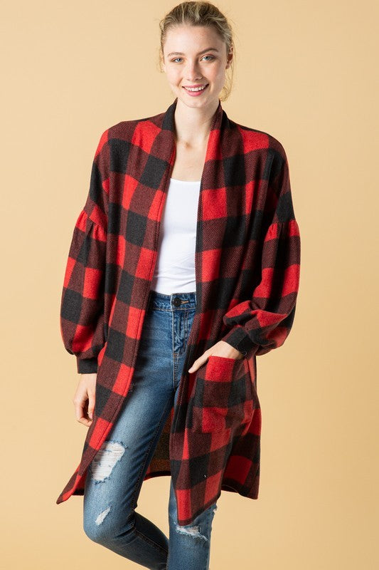 Buy Checker Plaid Print Knit Pocket Cardigan Red online at Southern Fashion Boutique Bliss
