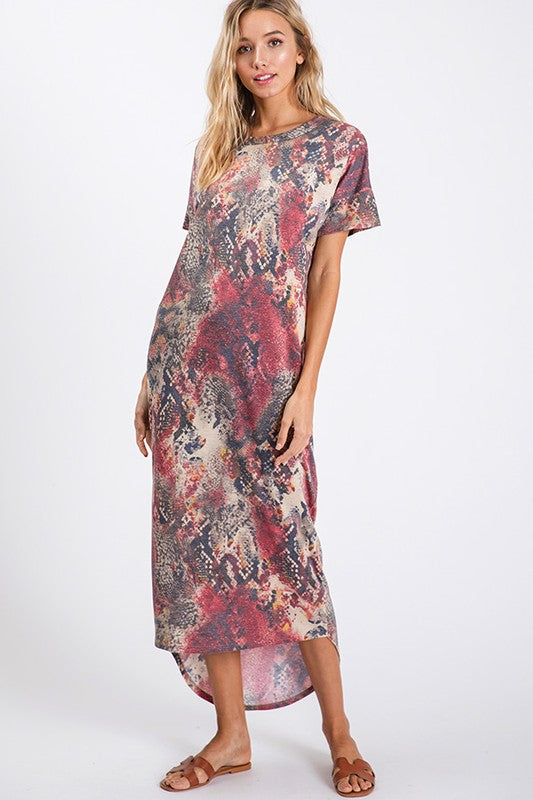 Animal Print Short Sleeve Maxi Dress Wine