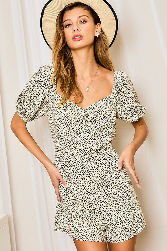 Buy Bubble Sleeve Leopard Romper Ivory online at Southern Fashion Boutique Bliss