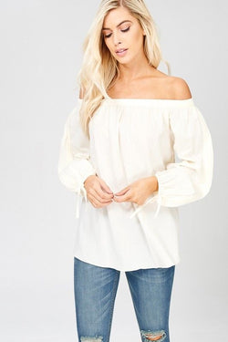 Buy Off The Shoulder Long Sleeve Top Cream online at Southern Fashion Boutique Bliss