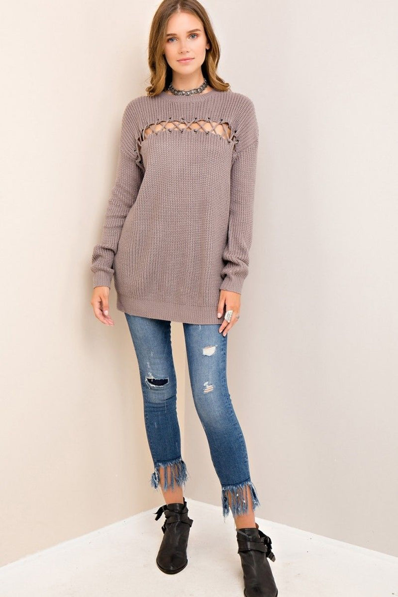 Buy Scoop Neck Top Eyelet Detail at Bust Grey online at Southern Fashion Boutique Bliss