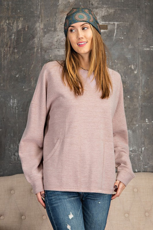 Brushed Heavy Hacci Knit Top Mauve
