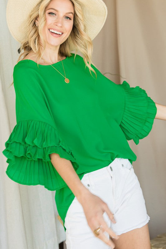 Buy Pleated Ruffle Sleeve Top Kelly Green online at Southern Fashion Boutique Bliss