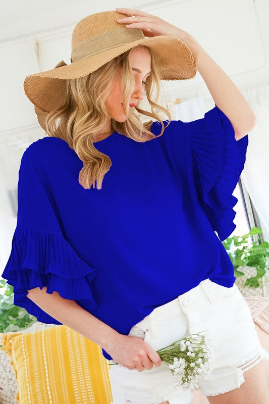 Pleated Ruffle Sleeve Top Royal Blue
