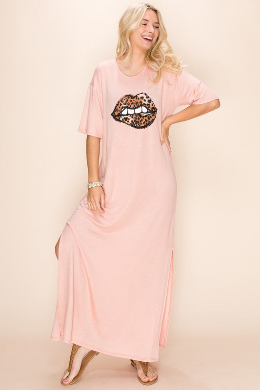 Leopard Print Lip Bite T shirt Maxi Dress Pink